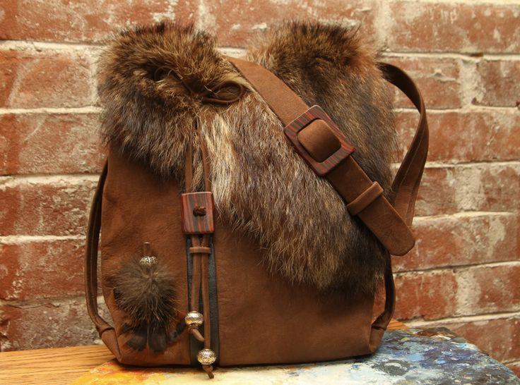 Recycled fur and leather handbag handmade. Handmade Handbags & Accessories - http://amzn.to/2ij5DXx - purse brands, luxury handbags, trendy purses *ad