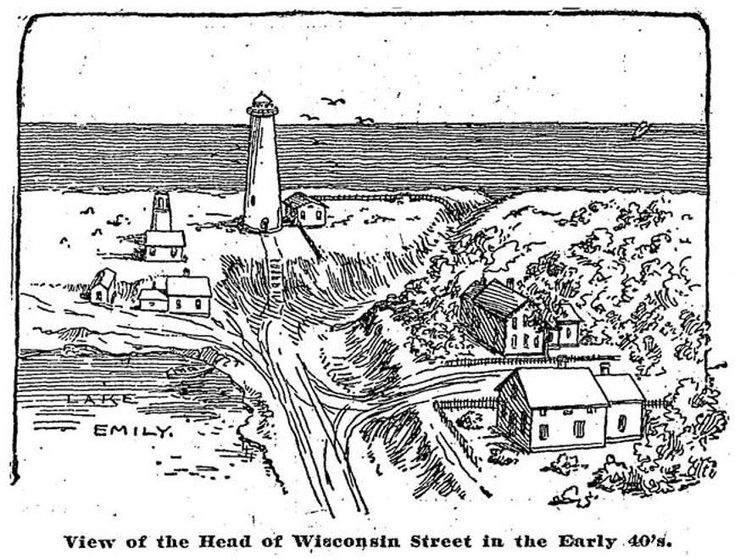 Sketch Of Milwaukee Near The Lake Front Showing An Early