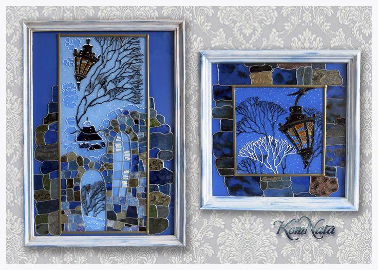 Зима за окнами . Витражная роспись