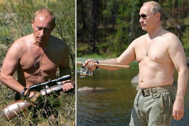 """<b>PUTIN JAGAR OCH FISKAR </b>Putin låter sig anmärkningsvärt ofta fotograferas i bar överkropp, omgiven av sitt manliga entourage, anmärker Buzzfeed och frågar sig hur normalt det egentligen är att fiska och jaga utan tröja. """"Om han lägger upp det här på Grindr (en populär dejtingapp bland bögar, reds anm), jisses, hans inbox skulle krascha"""", konstaterar sajten."""