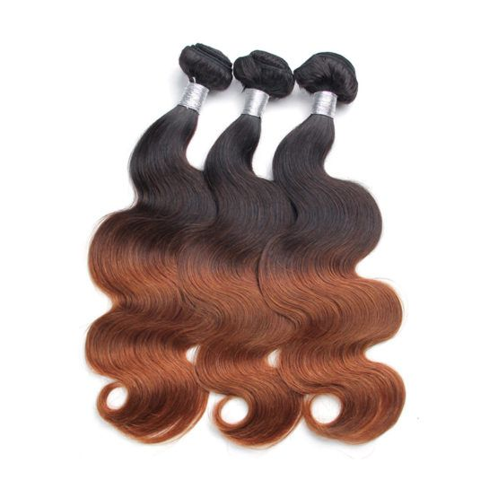 3Bundles ombre #30 dark brown body wave brazilian ombre human hair weft