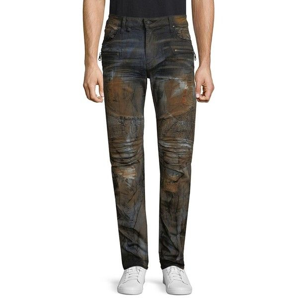 Robin's Jean Dyed Skinny-Fit Jeans featuring polyvore, men's fashion, men's clothing, men's jeans, mens skinny jeans, mens zipper jeans, mens skinny fit jeans, mens super skinny jeans and mens jeans