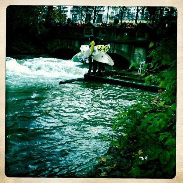 Eisbach. Munich. River surfing.