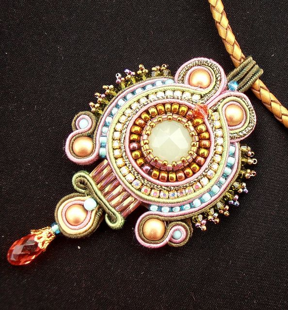 Pendant, beaded embroidery by Cielo Design
