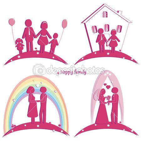 набор иконок, счастливой семьи. символ свадьбы. Семейный дом. беременность и родители с дочерью и сыном — Стоковое изображение #51652233