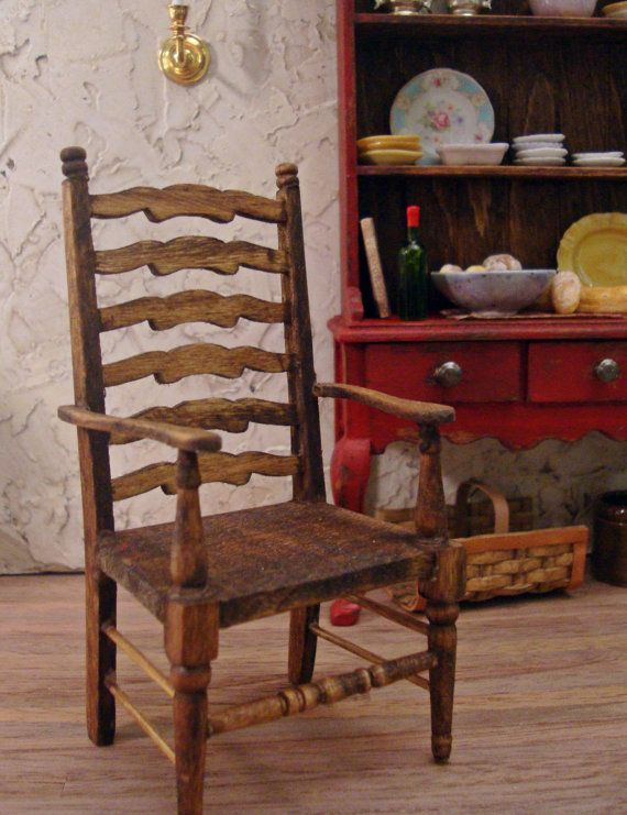Farmhouse Ladderback Carver Chair 1/12th Scale by WestonMiniature