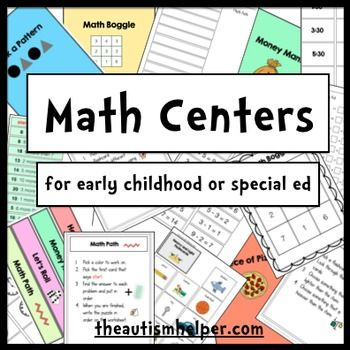 These centers work on a huge variety of math skills. All centers have visual cues, simple text, and are very easy to understand and comprehend. These centers target telling time, money skills, fractions, measuring, weight, math operations, patterns, and more!