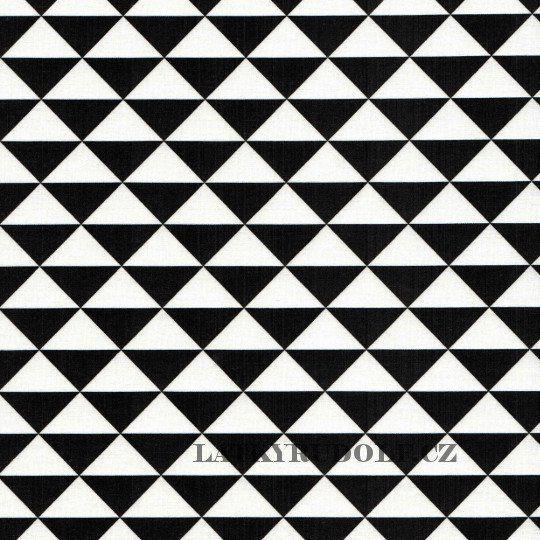 Látka Trojúhelníky černobílé 101116 > šíře 160cm