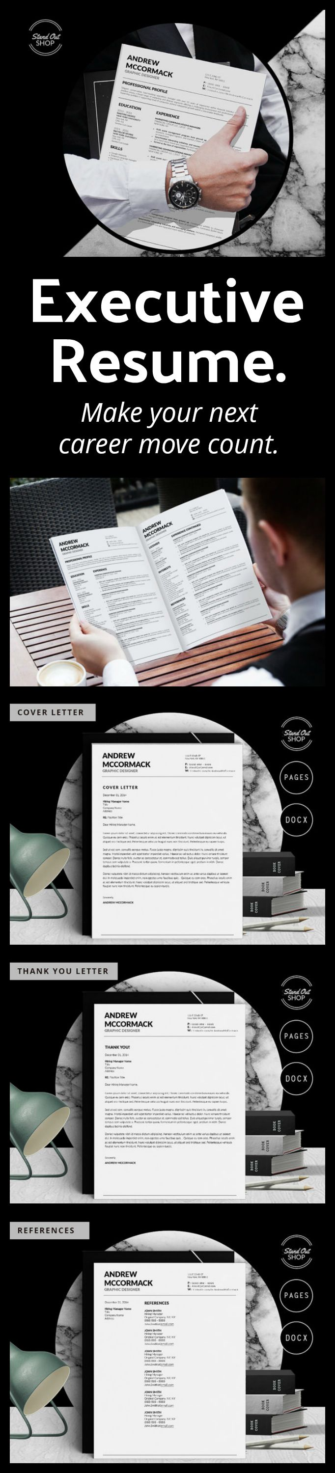 THIS is a standout executive resume! Use it to help your man advance his career.  Andrew McCormack Modern Resume Template for Microsoft Word and Apple Pages // A4 and US Letter Sizes | #resume #resumetemplate #career #cv #cvtemplate #coverletter #ad