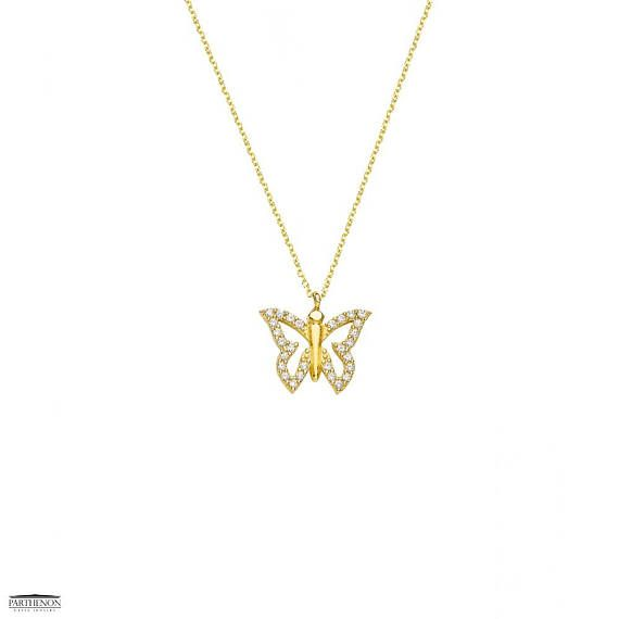 Parthenon Greek Jewelry Greek handmade, This pretty necklace features a beautiful butterfly pendant crafted from 14ct Gold, and white zircon are the perfect fashion accessory for everyday wear, This gorgeous pendant is from our pendant collection.  Code Number: E152676-A Metal: 14k Yellow Solid Gold Size Approx. 13mm wide Stone(s): white zircon or 28oz  Free shipping!!