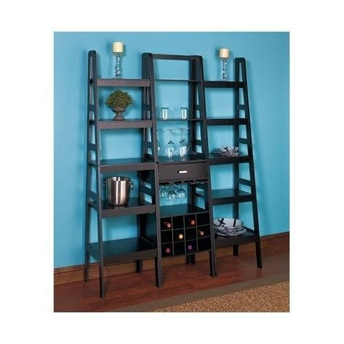Living Room Display Storage: 5 Tier Ladder Shelf Wine Rack Display Storage Unit Living