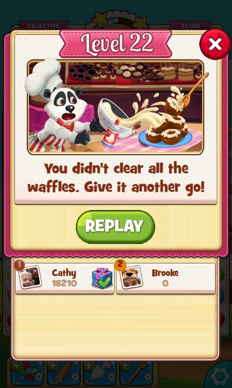 Cookie Jam, Results You Lose Screen,  - Match 3 Game - iOS Game - Android Game - UI - Game Interface - Game HUD - Game Art