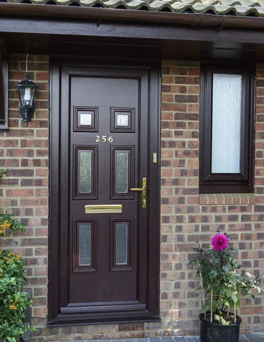 Dark woodgrain uPVC front door & 628 best Delectable doors images on Pinterest | Affordable garage ... pezcame.com
