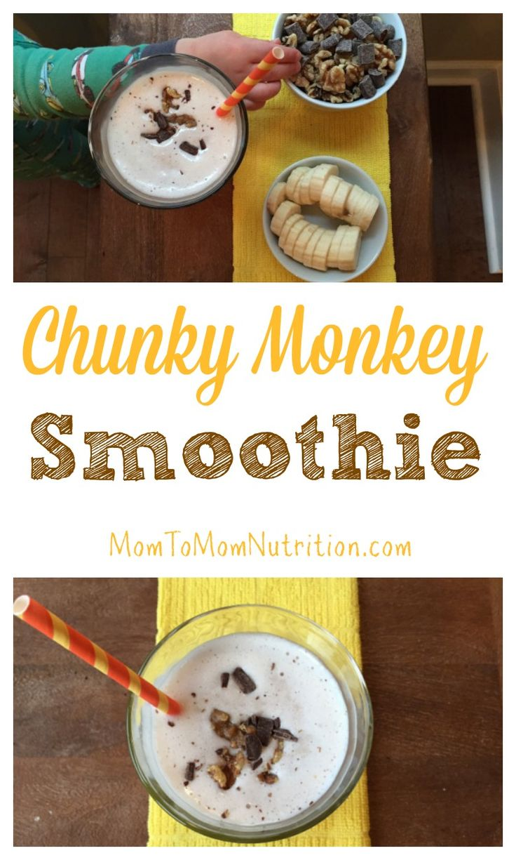 The classic Ben and Jerry's ice cream is recreated into a healthier snack-worthy chunky monkey smoothie recipe. @Mom to Mom Nutrition- Katie Serbinski, MS, RD