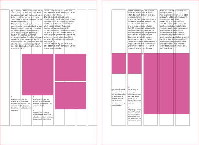 Exemple de grilles multi-colonnes : à gauche une grille à 9 colonnes qui englobe les marges, à droite une grille à 5 colonnes qui n'inclue pas les marges.