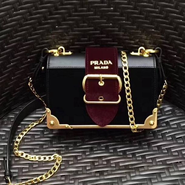 81113859aa2f Prada Cahier Velvet Shoulder Bag 1BH018 Black Burgundy 2017