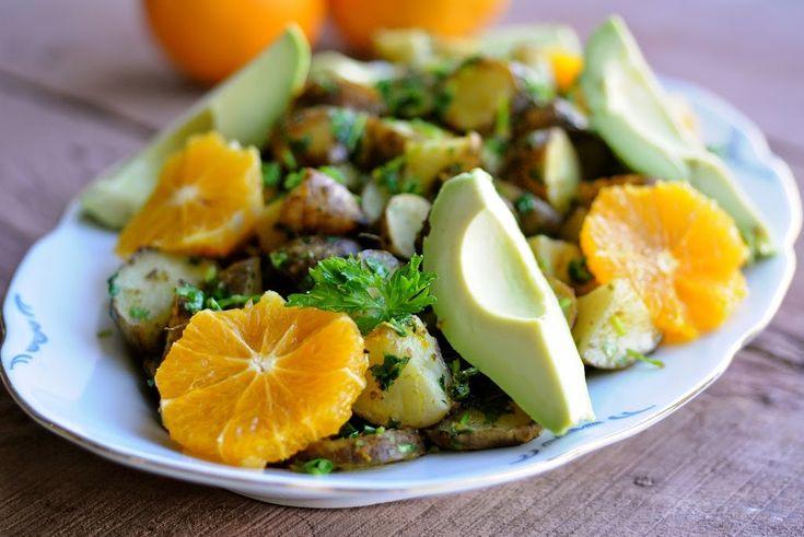 Bagte jordskokker med appelsin, avocado, spidskommen og persille   JulieKarla