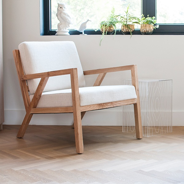 Gus* Modern | Truss chair in Cabana Husk is inspired by the work of the Sarasota School of Architecture.  In both  modern and traditional spaces, this mid-century styled chair features a solid  natural oak frame with an interlocking truss base and finger joint detailing on the  arms.