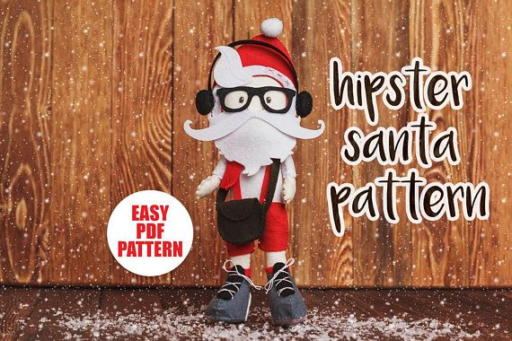 Santa hipster pattern Christmas ornaments PDF felt pattern Easy Sewing tutorial Nursery decor Boyfriend gift Party Baby toy doll pattern