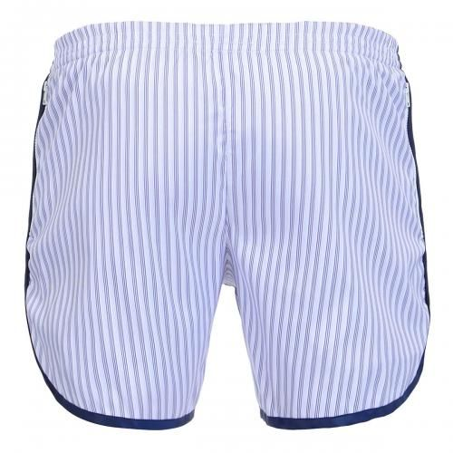 PINSTRIPED LONG BOARDSHORTS WITH ELASTIC WAIST - Oxford Court pinstriped Boardshorts with two side zippered pockets, elasticat waist with adjustable hidden drawstring, a rounded hem with contrast edges, internal mesh, Robinson Les Bains rubber label sewn inside.  #robinsonlesbains #sales #summer #mrbeachwear #beach #sale #fashion #mens