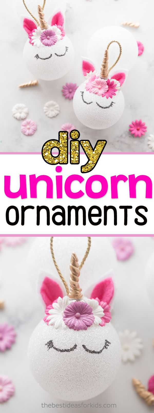 Unicorn Ornaments for Christmas - this DIY tutorial is so easy to do! Love the way these unicorn christmas ornaments turned out! #unicorn #christmas #christmastree #ornaments #kidscrafts