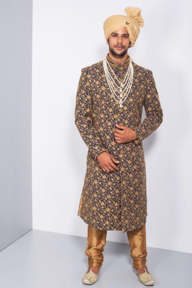 Ekaksh Navy Blue and Golden Threadworm Sherwani #flyrobe #groom #groomwear #groomsherwani #sherwani #flyrobe #wedding #designersherwani