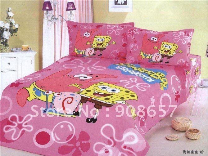100% Хлопок розовый желтый Губка Боб Квадратные Штаны мультфильм шаблон Одноместный пуховое одеяло одеяло охватывает наборы постельных принадлежностей малыша с листов постельного белья