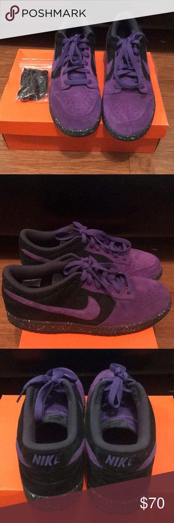 Men's Nike Dunk Low Purple and Black Suede Sz 11 Selling Nike Dunks size 11. Black and purple suede. Extra shoelaces. Excellent Condition. Nike Shoes Sneakers
