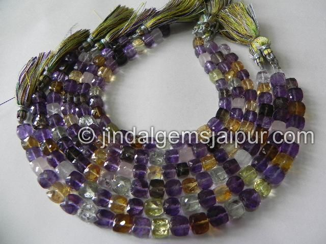 Multi Stone Faceted Cube  Gemstone Beads.