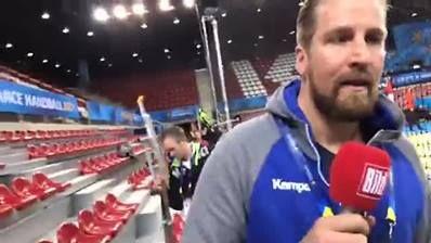 Abschlusstraining der DHB-Auswahl vorm Ungarn-Spiel in Kindarena/Rouen. Kapitän Uwe Gensheimer ist dabei Deutscher Handballbund