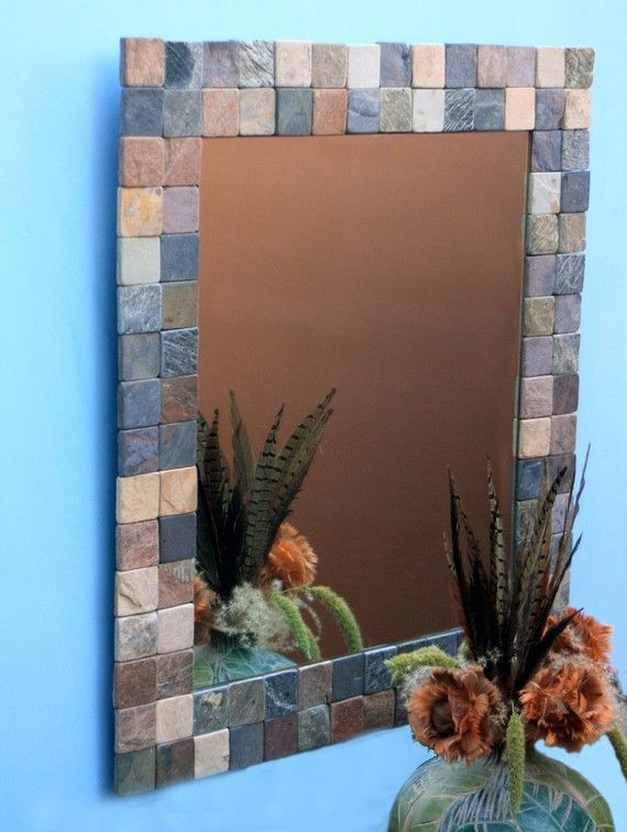 Pictures In Gallery Mosaic stone framed mirror