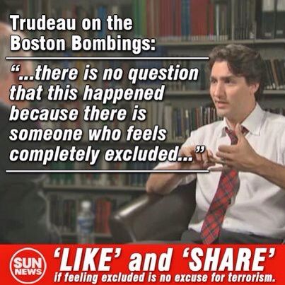 "JT said Boston Bombings occurred because the terrorists felt ""excluded""."
