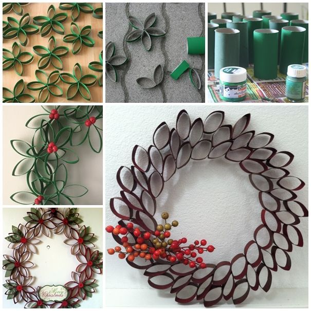 I can't believe that this gorgeous wreath is made from toilet paper roll tubes . Tutorial--> http://wonderfuldiy.com/wonderful-diy-unique-christmas-wreath-from-paper-rolls/