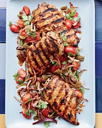 Harissa Chicken with Green Chile and Tomato Salad Recipe