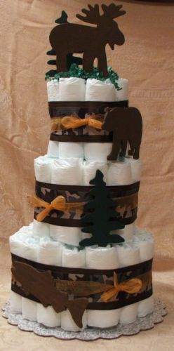 3 Tier Diaper Cake Camo Hunting Fish Bear Moose Baby Shower Centerpiece | eBay