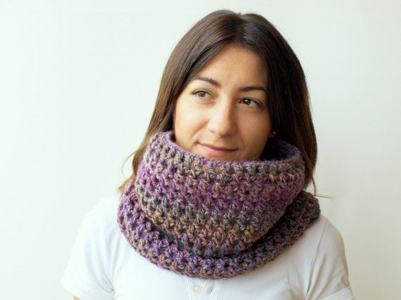 Hand crocheted chunky cowl in shades of purple by elenis4you, $23.50