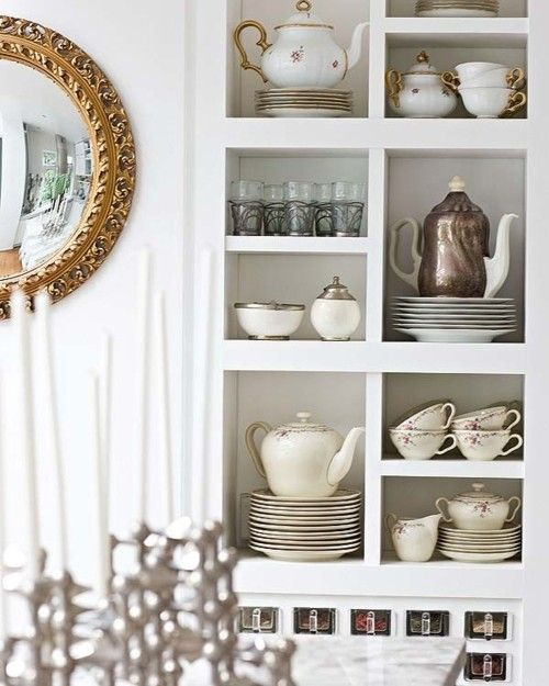 tea pots: Kitchens Shelves, Teas Rooms, Teas Time, Open Shelves, Teapots, Teas Pots, Teas Sets, Tea Pots, Open Kitchens
