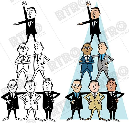 A cartoon of a group of businessmen standing on each other's