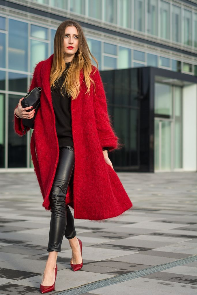 "Lisa Cologne of ""The L Fashion"" heats up cold days with a red-hot, oversized H&M coat in wool blend. 