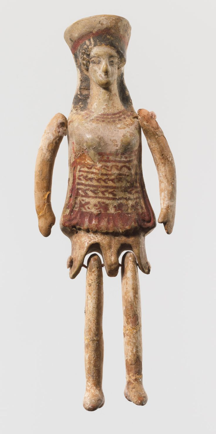 Corinth, 5th century B.C. Many examples of such small jointed figurines have been found in tombs, sanctuaries, and terracotta factories. Their attire—a cylindrical polos (headdress) and a short tunic and shoes—seems to indicate that they are ritual dancers.