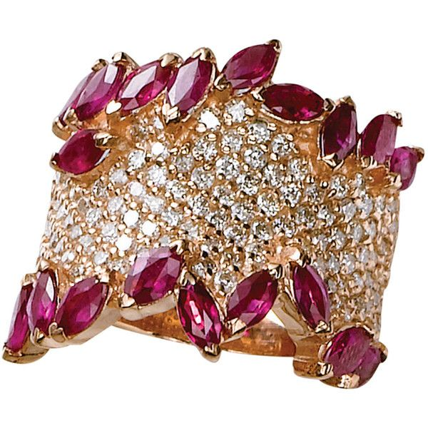 Effy Collection 14 Kt. Rose Gold Ruby & Diamond Pavé Ring ($2,875) ❤ liked on Polyvore