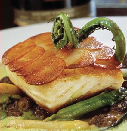 Potato-Wrapped Halibut with Sautéed Spinach
