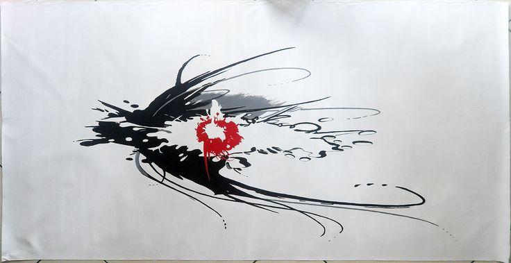 Minimal art, hand painted canvas, bnw