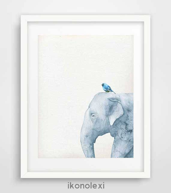 Elephant print, peekaboo animals, safari nursery, watercolor elephant, blue bird art, boys room wall art, kids large poster, blue elephant by Ikonolexi on Etsy