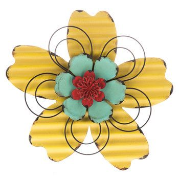 Yellow & Turquoise Metal Flower with Red Center