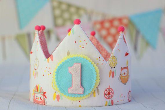 Corona de cumpleaños, corona de tela infantil, corona niña  corona de cumpleaños reversible
