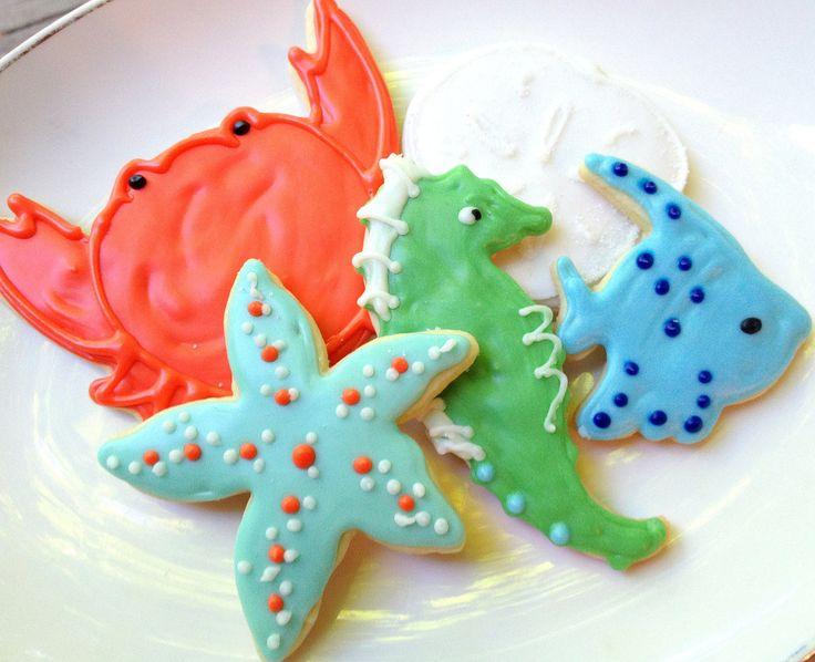 sea life cookies | Sea Life Sugar Cookie Coral Aqua Beach Theme Iced Decorated Cookie ...