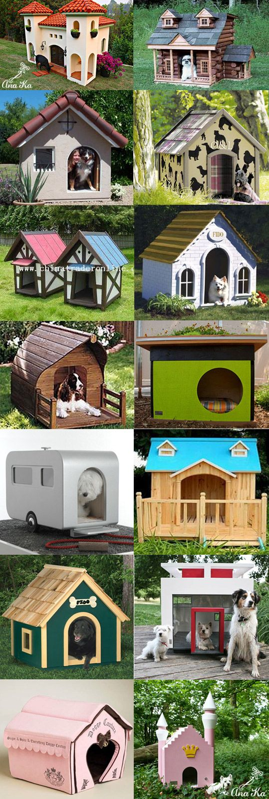 A variety of dog houses made to portray the owner and pets unique personalities.  #puppied