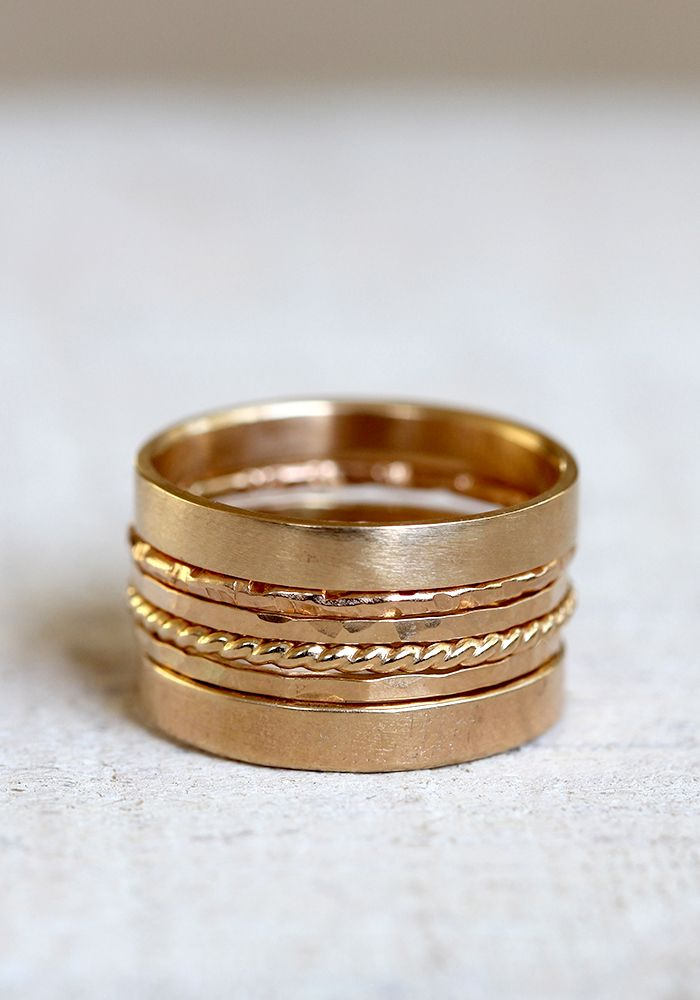 Mix and match solid 14k gold stacking rings from Praxis Jewelry