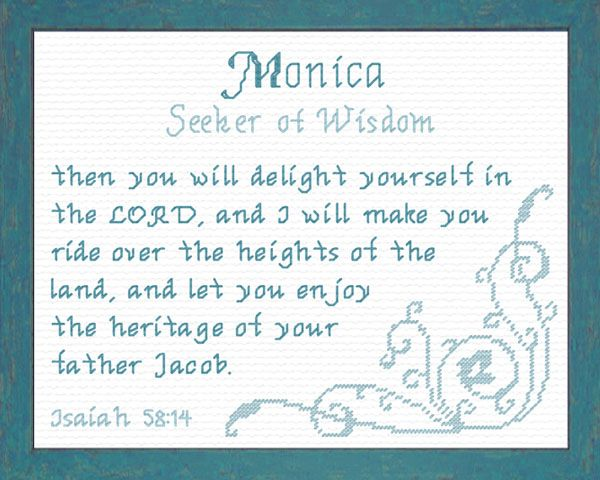 Cross Stitch Monica with a name meaning and a Bible verse